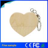 Presente relativo à promoção forma de madeira personalizada USB2.0 Pendrive do coração 2016