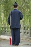 秋および冬のリネン男性のコートの倍の厚く暖かい道教のコート