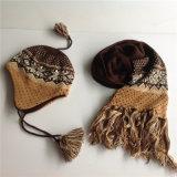 도매 자카드 직물 뜨개질을 하는 패턴 스카프 모자 및 장갑 세트