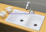 Dispersore dello smalto della cucina della scanalatura del doppio della cucina del serbatoio di acqua del ghisa di Sunboat
