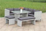 屋外の柳細工の庭の藤のコーナーのソファーの家具