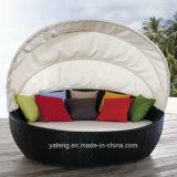 닫집 등나무 두 배에 의하여 닫집 (YTF178)를 가진 옥외 가구 침대 겸용 소파를 가진 안뜰 Sunlounge