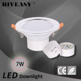 7W de 3.5 pulgadas LED abajo Downlight de iluminación de luz blanca + Alta luz CE y RoHS