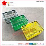 Double Handles Portable Plastic Shopping Basket pour Supermarket (OW-BP001)