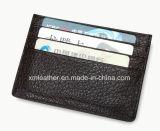 Черный тонкий случай карточки кожи владельца карточки удостоверения личности бумажника