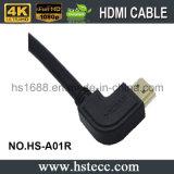 2160p à grande vitesse à angle droit au câble à angle droit de HDMI