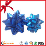 Cinta de tinte azul estrella arco para la decoración de la boda