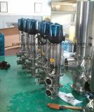 Mudança pneumática sanitária do aço inoxidável sobre a válvula