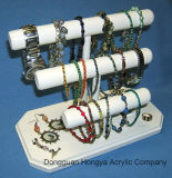 Support de bijou de montre de bracelet de rangée ouvré par main en bois solide 3 (HY-YXB0024)