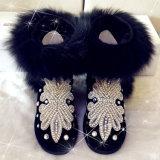 De Laarzen van de Sneeuw van het medio-Kalf van de met de hand gemaakte Vrouwen van het Bont van de Vos van de Laarzen van de Winter van het Bergkristal Grote met de Vrouw van de Schoenen van de Winter van Uge Austrial van de Pluche