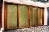 Раздвижная дверь деревянного зерна алюминиевая/дверь сползая стекла