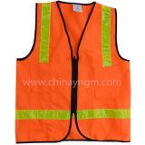 Het oranje Weerspiegelende Vest van de Veiligheid met Zak