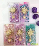Diseño creativo del caso líquido con la cubierta de la caja del teléfono de la perla del diamante del girasol