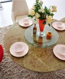 Tabela de jantar/tabela moderna/mobília/tabela do restaurante/mobília Home da sala de visitas/tabela de vidro/cadeira moderna da mobília/metal/Sj818+Cy128+Cy129