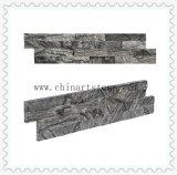 Revêtement en bois noir de mur en pierre de culture pour la décoration de villa