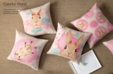 Almohadilla decorativa del amortiguador del nuevo de los animales del conejo amortiguador rosado de lino de la impresión