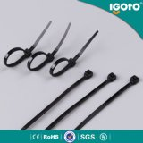 Serre-câble blanc noir auto-bloqueur libérable, serre-câble de nylon de couleur