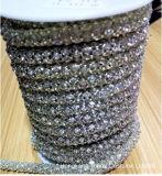 Ss28 6m m 10 yardas de porciones cosen en el encadenamiento hecho a mano del Rhinestone de la plata del cordón del encadenamiento del Rhinestone de la taza de la flor de los colores de Crystalab (TC-ss28/6mm)