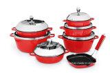 赤い外のコーティングが付いている焦げ付き防止の鋳造アルミの在庫の鍋