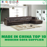 Einfacher Entwurfs-Leder-Sofa eingestellt in dunkle Farbe