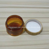 Schoonheidsmiddel die de Amber Plastic Kruik van het Huisdier met het Deksel van het Bamboe (ppc-BS-054) verpakken
