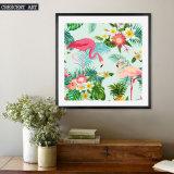 De Kunst van de Muur van het Af:drukken van het canvas van Flamingo's en Bloemen