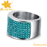 Exsr10bl Fashion Stainless Steel com Blue CZ Stones Cocktail Ring Designs