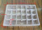 Устранимые прозрачные вареники выровнянные с подносом волдыря