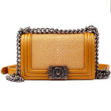 100% echtes Leder-Handtaschen-elegante Frauen-Schulter-Beutel mit leuchtenden Raupen Emg4893