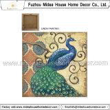 Tela de lino impresa pavo real para la decoración casera