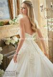 Vestido Strapless do vestido de casamento do comprimento do assoalho do querido frisado impressionante da pérola (Dream-100092)