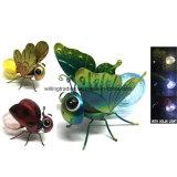 New Metal and Glass Ball Solar iluminado decoração de jardim de borboleta
