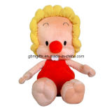 Het hete Stuk speelgoed van Doll van de Pluche van het Meisje van het Geslacht van de Ogen van het Borduurwerk van het Beeld van het Beeldverhaal van de Verkoop Zachte Leuke Grote