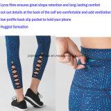 Pantalones calientes de la yoga de las muchachas con los bolsillos posteriores interiores y correas del cordón en la espinilla