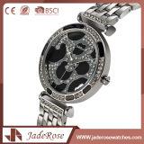 Quartz noir de femmes de montre d'acier inoxydable de couleur de cadran de mode