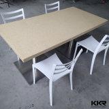 カスタム円形の人工的な石造りの固体表面ベージュダイニングテーブルはセットした(V161108)