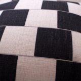 Couverture de coussin estampée par toile noire et blanche de coton sans bourrer (35C0006)