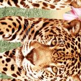 le léopard Pigment&Disperse de la pivoine 100%Polyester a estampé le tissu pour le jeu de literie