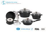 Jeux en aluminium de batterie de cuisine de traitement mou noir antiadhésif de cuisine de 8 parties