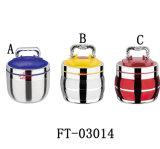 Portador do alimento do aço inoxidável da alta qualidade com tampa plástica (FT-03014)