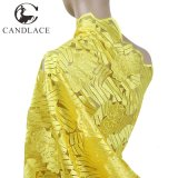 Tessuto africano molle del ricamo del merletto di colore giallo per il vestito da cerimonia nuziale
