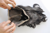 Cabelo humano brasileiro 22.5 do Virgin x 4 x 2 Frontal do laço da onda 360 do corpo da seda com faixa elástica Lbh 288