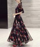 Primavera gasa de las señoras impresa del collar del soporte del vestido largo dulce