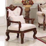 Cadeira antiga americana do braço do sofá clássico da tela com frame de madeira