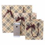 Da embalagem de papel do portador da mão das bolsas das listras saco de empacotamento dos sacos