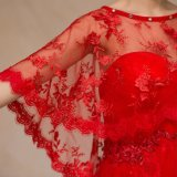 Châle rond rouge de mariage de Tulle de lacet de collet de type chinois