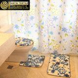 Jogos florais baratos da cortina de chuveiro do banheiro da tela do poliéster