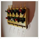 Crémaillère fixée au mur rustique de vin d'Upcycled, porte-bouteilles du vin 10
