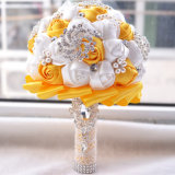 El Rhinestone modificado para requisitos particulares fantástico de la flor artificial del color aljofara el ramo de la boda
