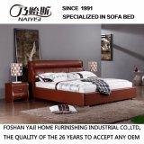 Oberstes echtes Leder-Bett mit Kristallen und festes Holz-Rahmen Fb3080